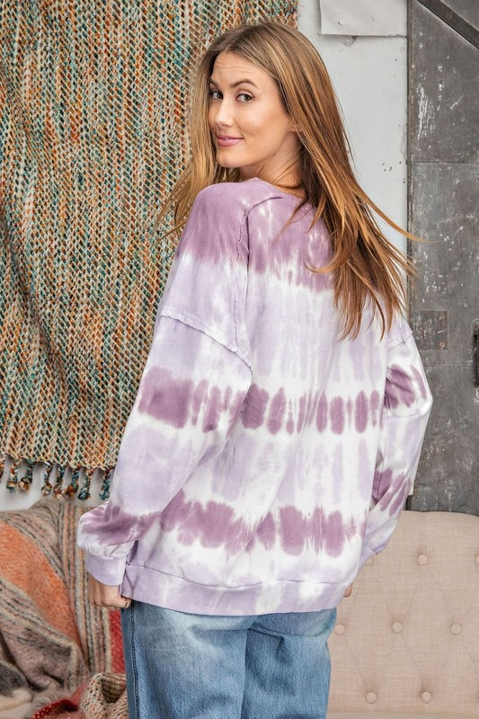 Ombre Dye Terry Knit Pullover