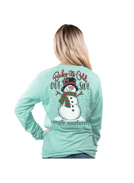 Simply Southern Collection Baby It's Cold Outside Long Sleeve T-Shirt  - Celedon