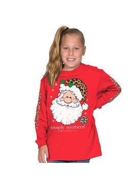Simply Southern Collection Youth -Falalala Long Sleeve T-Shirt - Red