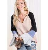 Color block bell sleeve top