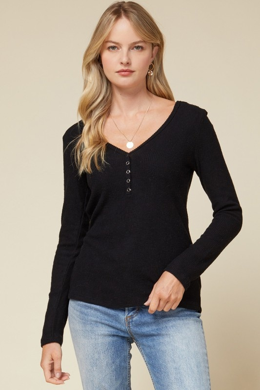 Ribbed V-neck Henley Top