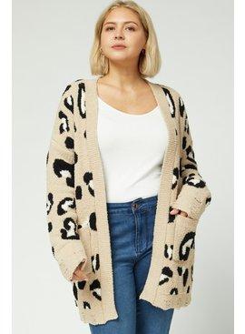 Leopard Print Plush Cardigan
