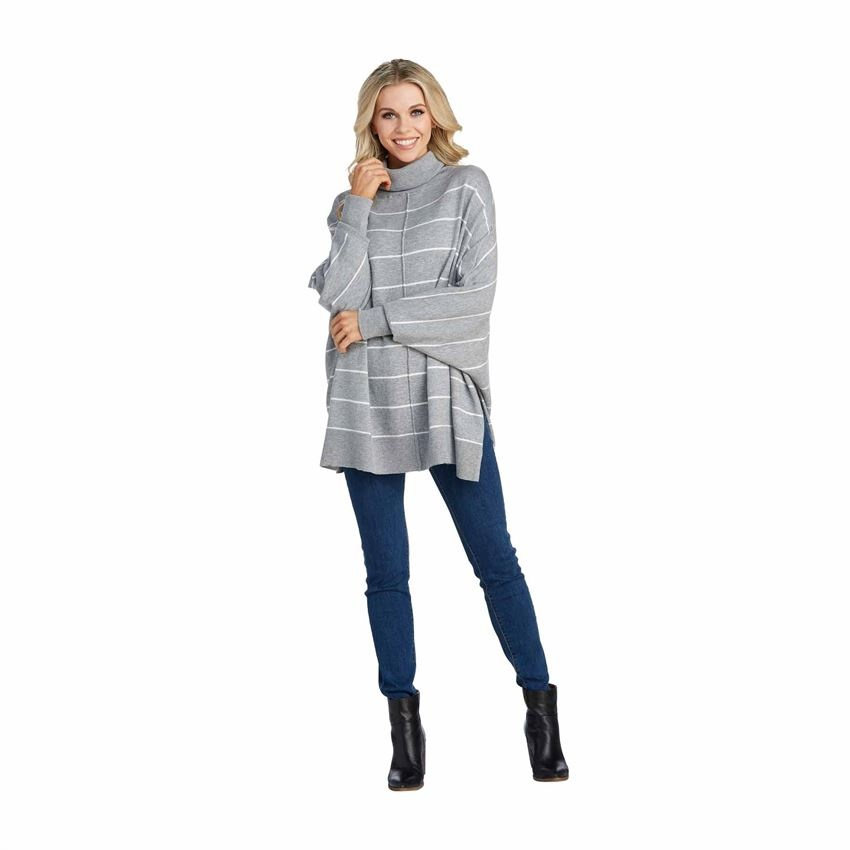 Alina Striped Turtleneck Poncho in Gray - One Size