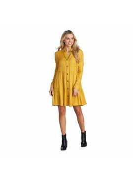 Mud Pie Clover Mustard Button-Down Dress