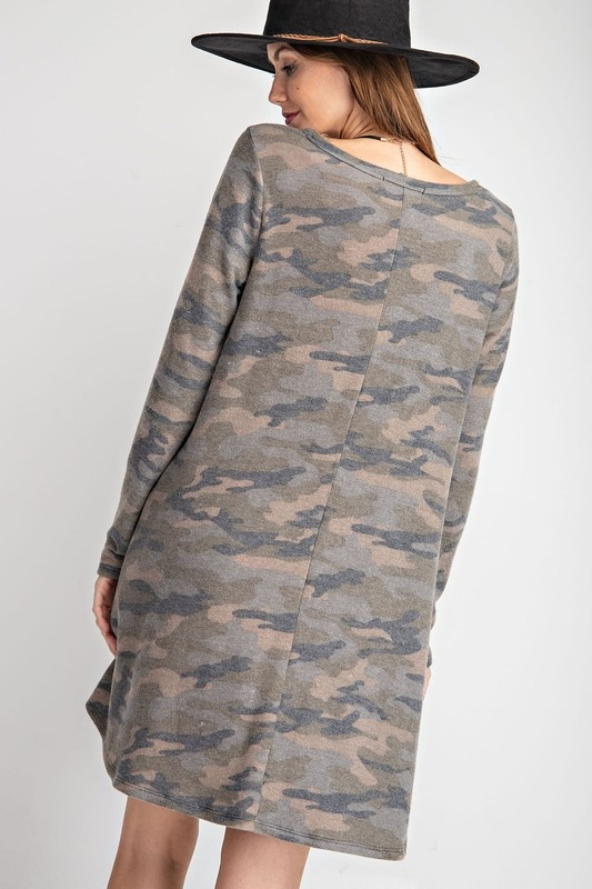 Rae Mode Brushed Camo LS Dress