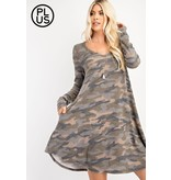 Rae Mode Plus - Brushed Camo  LS Dress