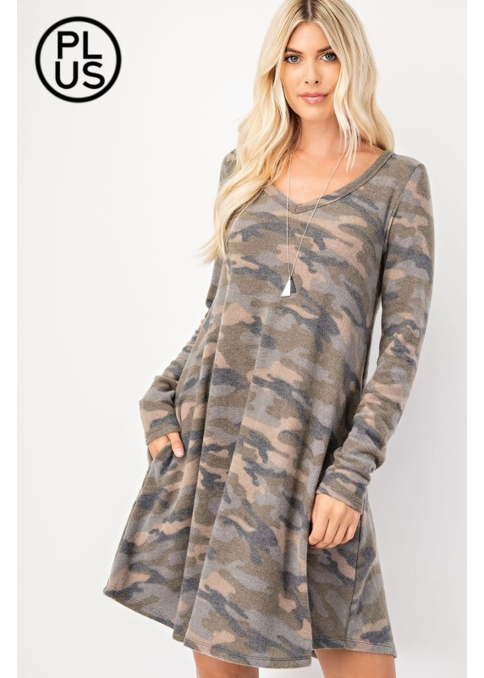 Rae Mode Plus - Brushed Camo  LS Dress