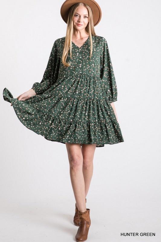 Jodifl Print Tiered Bubble Sleeve Dress