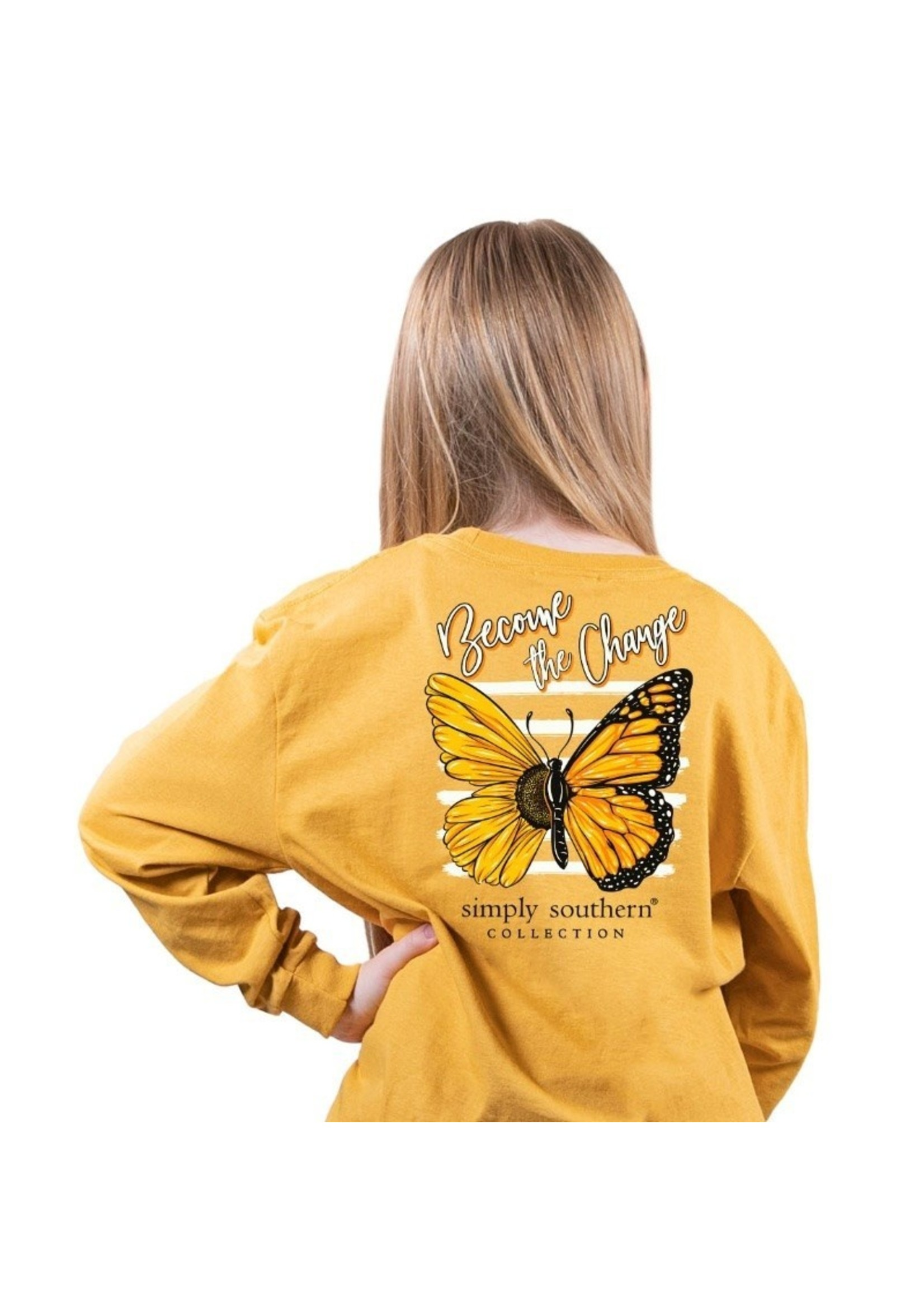 Simply Southern Collection YOUTH Become The Change Long Sleeve Tee