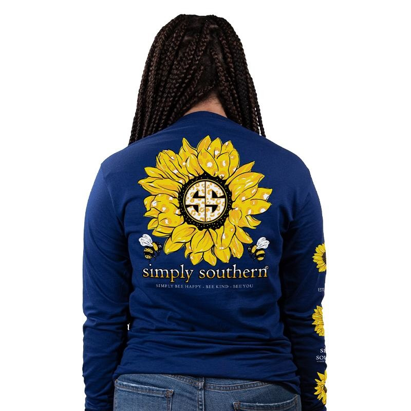 Simply Southern Collection Sunflower Long Sleeve T-shirt -Midnight