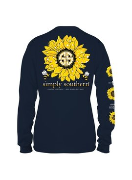 Simply Southern Collection Youth Sunflower Long Sleeve T-shirt -Midnight