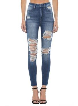 High Rise Raw Hem Skinny Jean