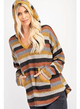 Rae Mode Stripe Printed Brushed Hoodie