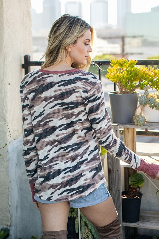Camouflage Print Textured Top