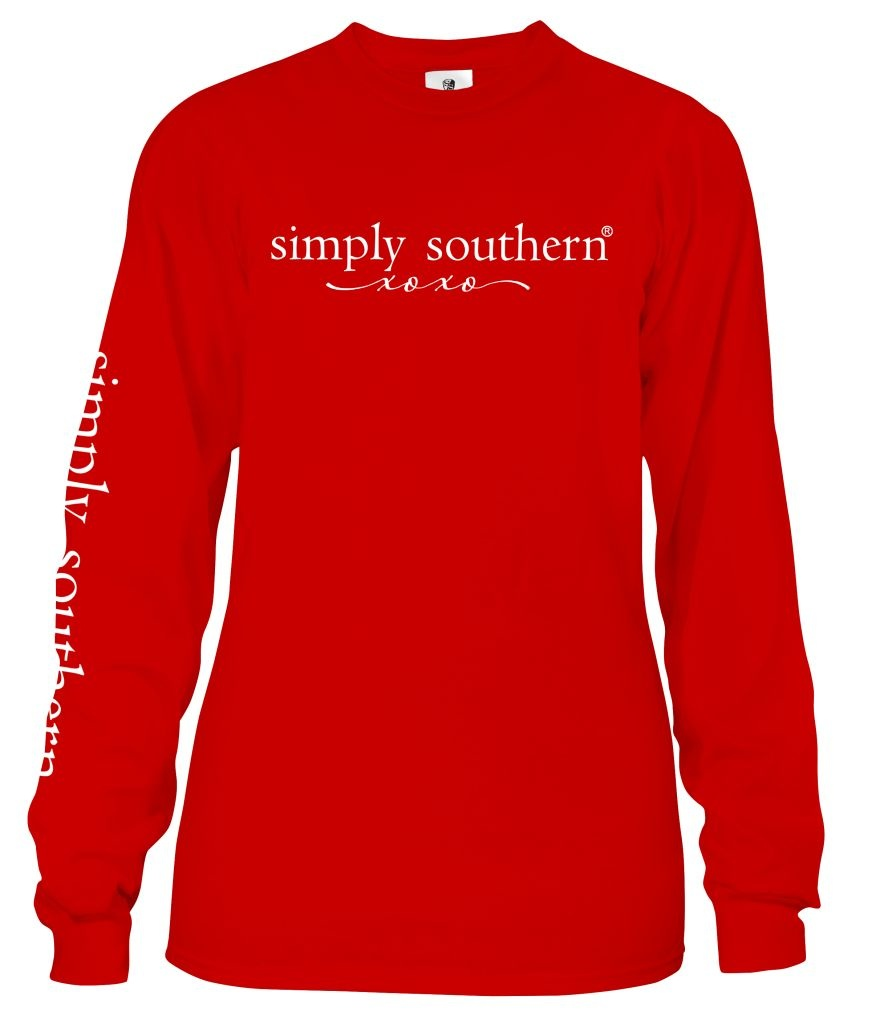 Simply Southern Collection Youth Hogs & Kisses Long Sleeve T-Shirt -Red