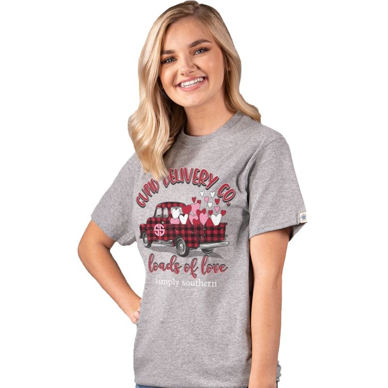 Simply Southern Collection Cupid Short Sleeve - Heather Grey