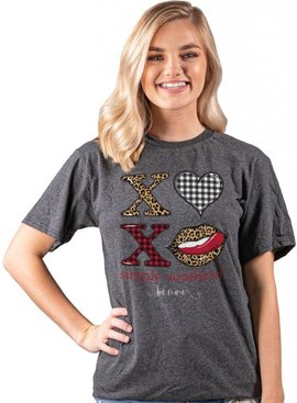 Simply Southern Collection XOXO Short Sleeve - Dark Heather Grey