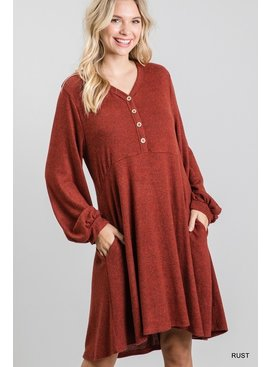 Jodifl Flared Dress with Bubble Sleeves and Pockets