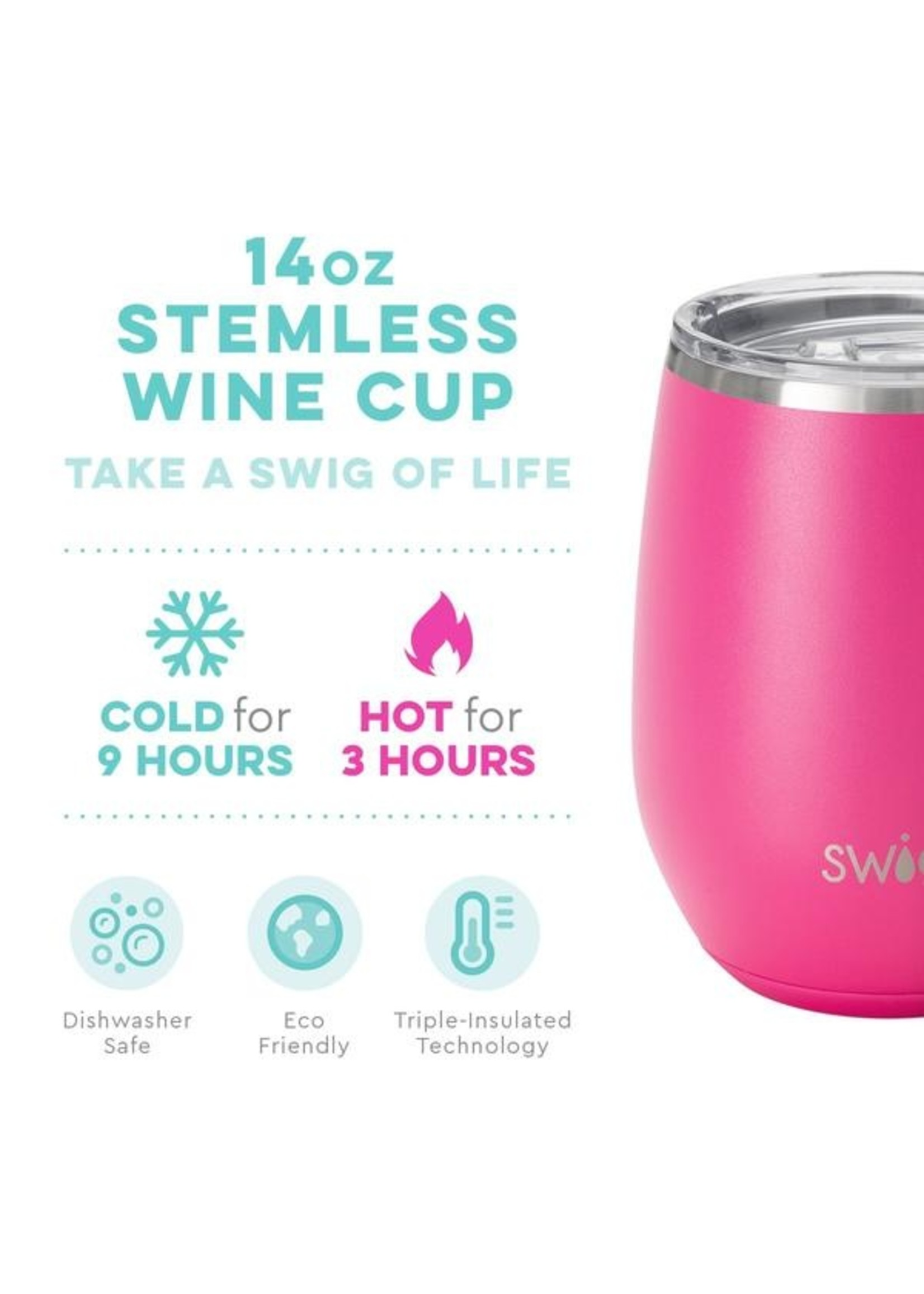 Swig Life 14oz Stemless Wine Cup-Matte Hot Pink
