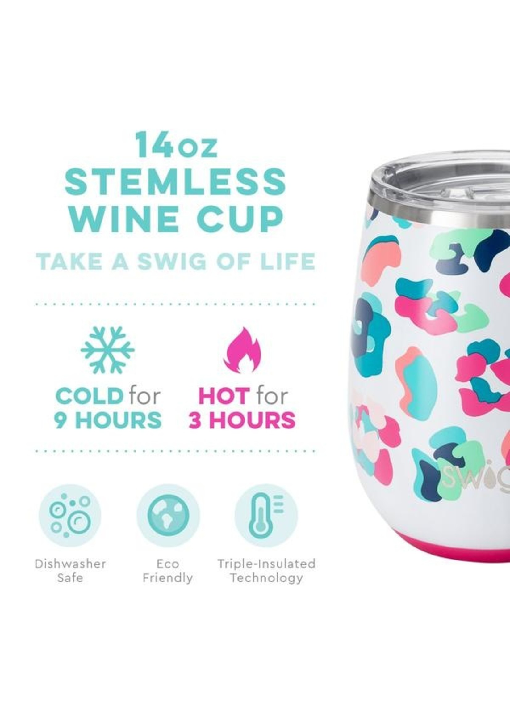 Swig Life 14oz Stemless Wine Cup-Party Animal