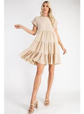 Glam Textured Babydoll Dress