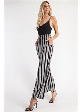 Glam Stripe Elastic Waist Pants