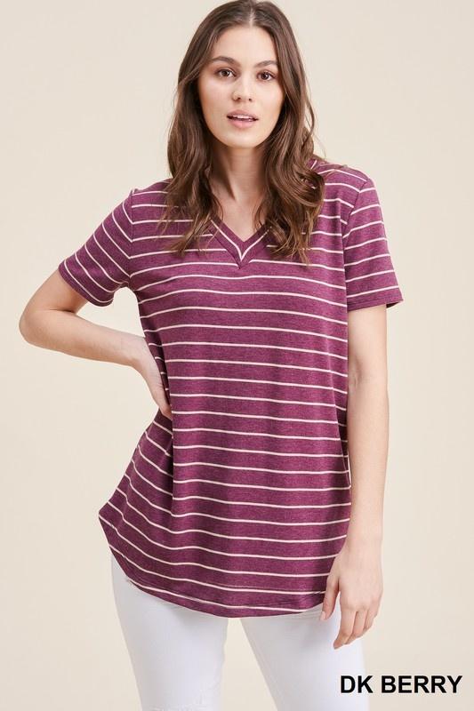 Staccato V-Neck Short Sleeve Stripe Top