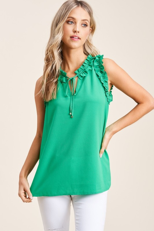 Staccato Keyhole Tie Neck Top