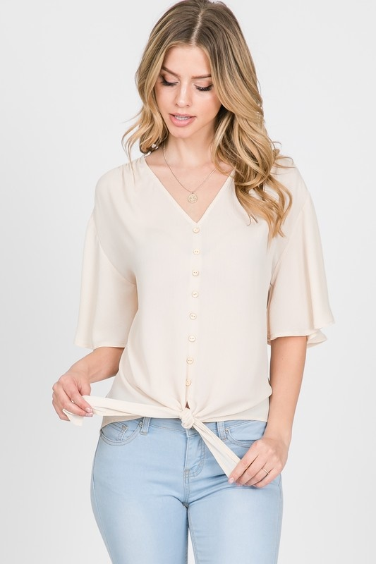 Allie Rose By Ember Solid Short Sleeve Blouse