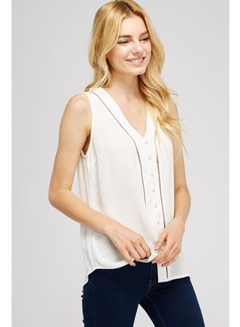 Allie Rose By Ember Button Down Sleeveless Solid Top