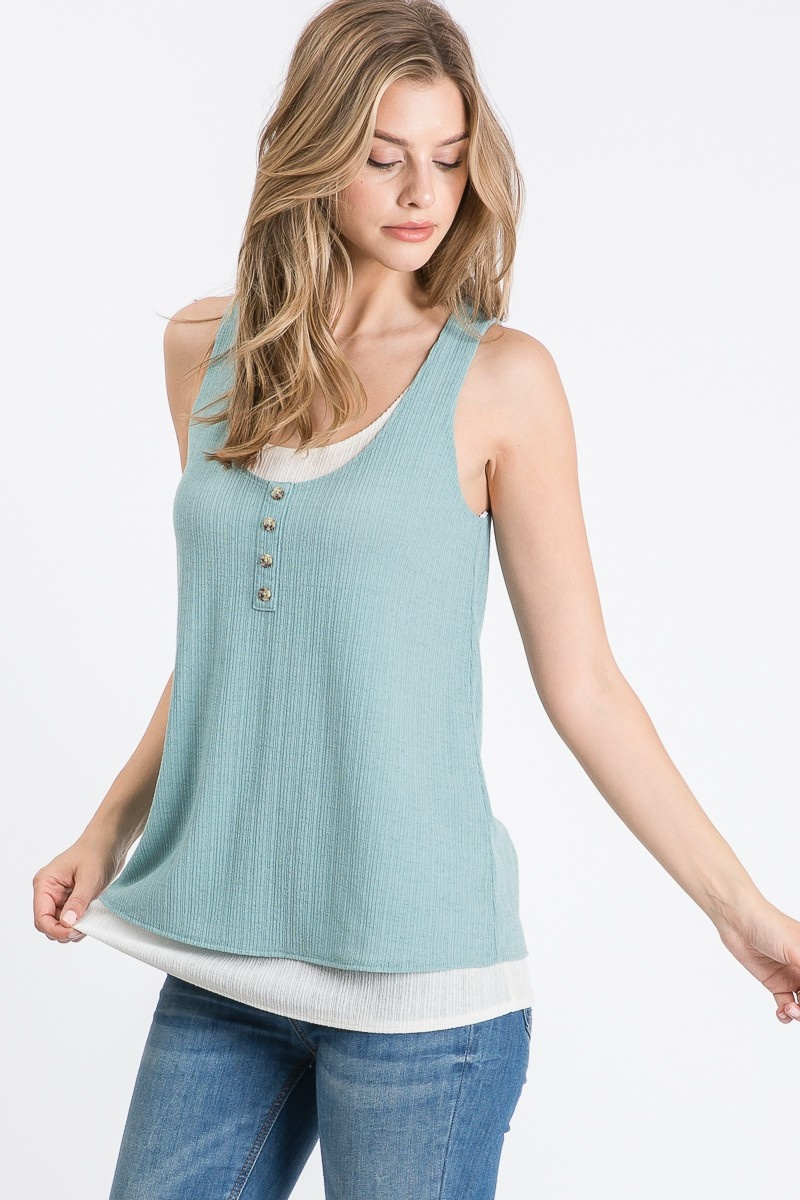 Allie Rose By Ember Knit Solid Double Layer Tank Top