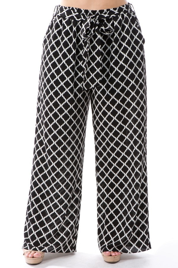 Geo Print Pants With Belt And Lined