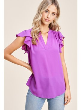 Staccato Ruffle Cap Sleeve Top