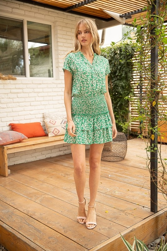 VOY Bella Floral Print Tiered Dress