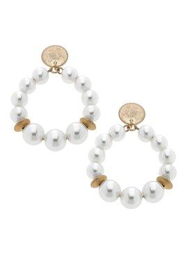Canvas Catherine Beaded Pearl Teardrop Hoop Earrings in Ivory Pearl