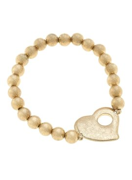 Canvas Avalyn Heart Ball Bead Stretch Bracelet - Worn Gold