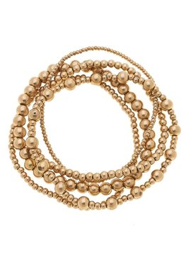 Canvas Caterina Layered Ball Bead Bracelets in Worn Gold