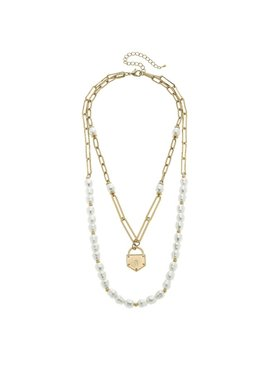Canvas Kaiya Layered Pearls & Padlock Necklace in Worn Gold