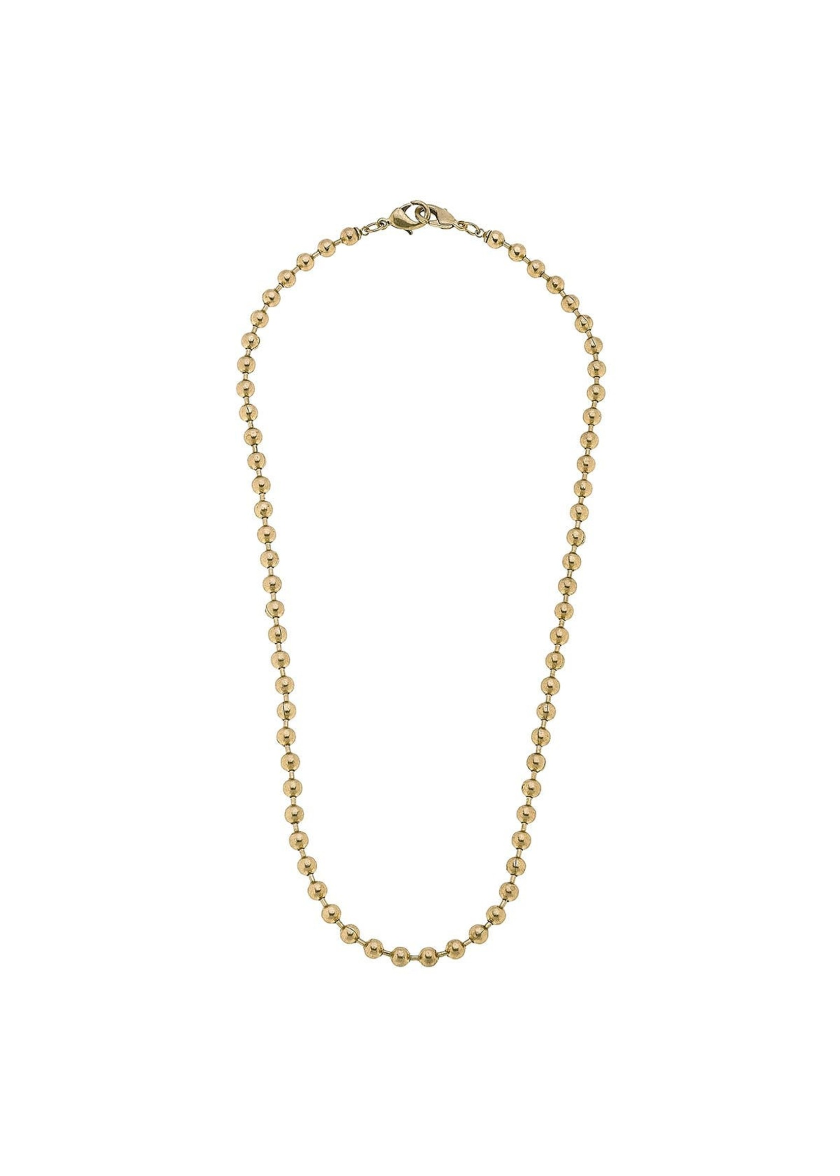 """Canvas Soleil Ball Chain Mask Necklace in Worn Gold - 20"""""""