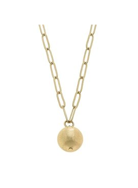 Canvas Ellie Paperclip Chain Ball Bead Necklace - Worn Gold