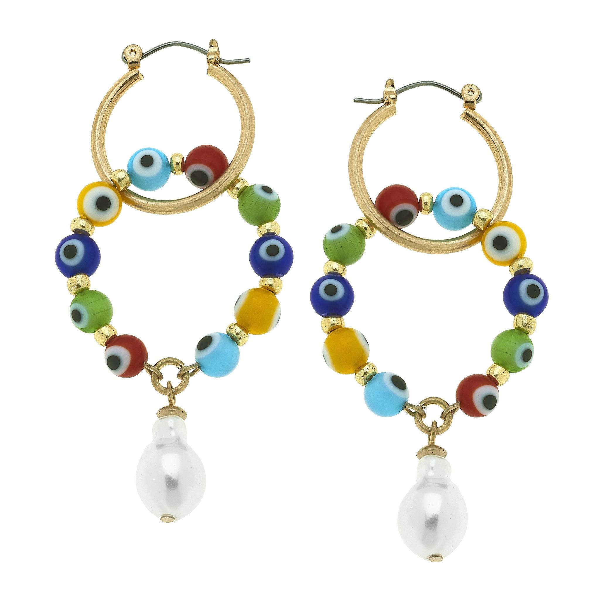 Canvas Murano Glass Evil Eye Talisman Interlocking Hoop Earrings