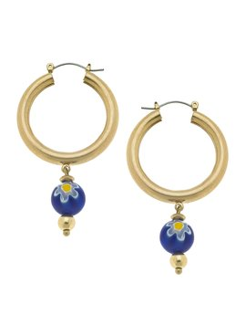 Canvas Millefiori Glass Bead Drop Hoop Earrings in Blu
