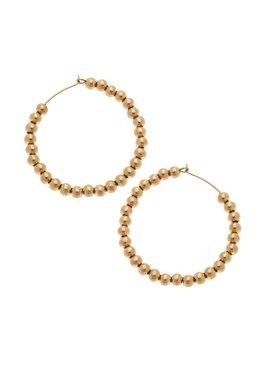 Canvas Aria Large Sphere Hoop Earrings in Worn Gold