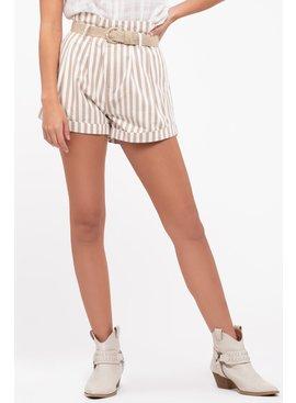 Jute Belt Striped Short