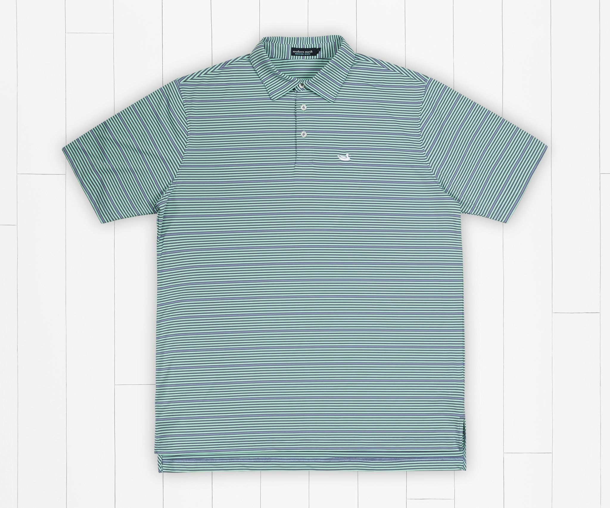 Southern Marsh Bermuda Performance Polo - Chenier Stripe