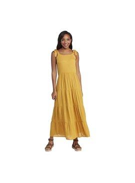 Mud Pie Mimi Tiered Mustard Maxi Dress