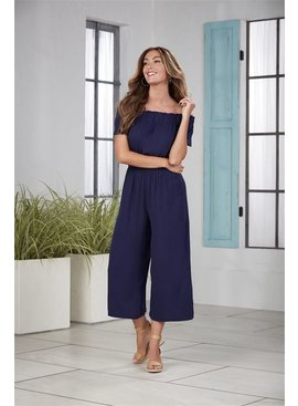 Mud Pie Jasmine Off-The-Shoulder Navy Jumpsuit