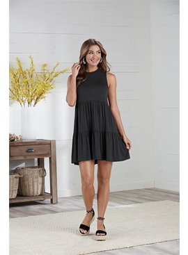 Mud Pie Tully Charcoal Tiered Dress
