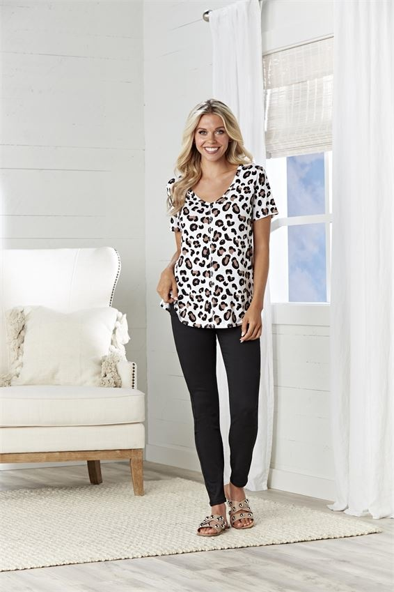 Mud Pie New Carson Tan Leopard T-Shirt