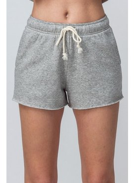 Solid Fleece Drawstring Cut Off Shorts
